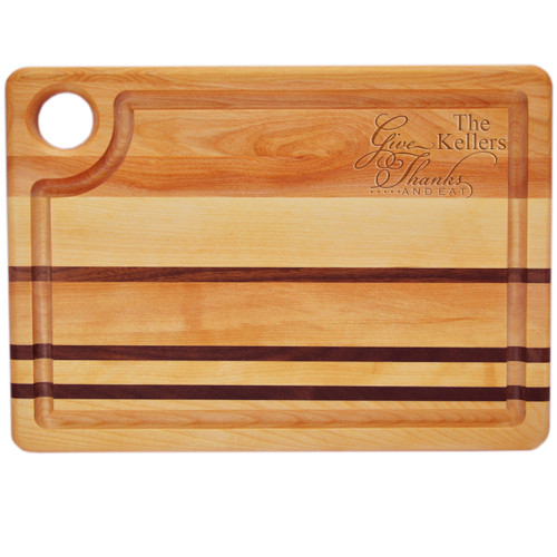 """Integrity Steak Carving Board 14"""" X 10"""" - Personalized Give Thanks and Eat"""