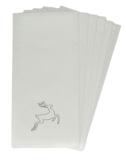 50 Linen-Like Disposable Guest Towels - Silver Deer