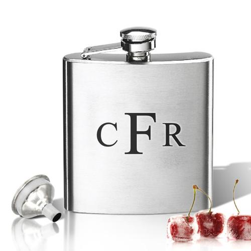Stainless Steel Hip Flask (8 oz) Monogram