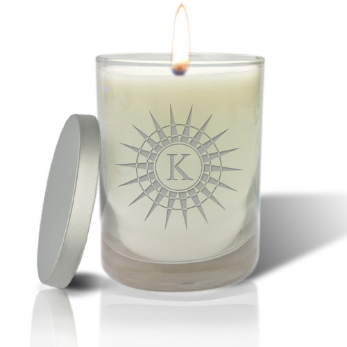 Soy Glass Candle - Sunburst with Initial