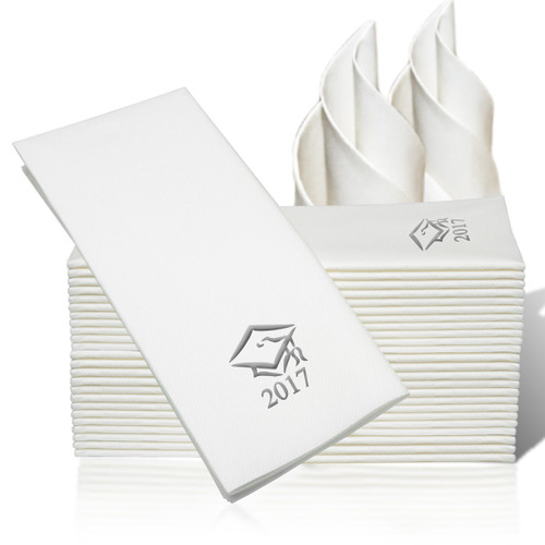 25 Linen-Like Disposable Guest Towels - Silver Grad Cap