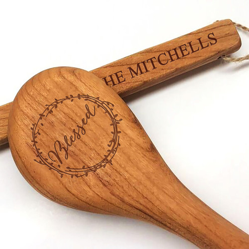 "12"" Cherry Wooden Spoon - Blessed Motif with Personalization"