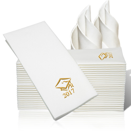 25 Linen-Like Disposable Guest Towels - Gold Grad Cap