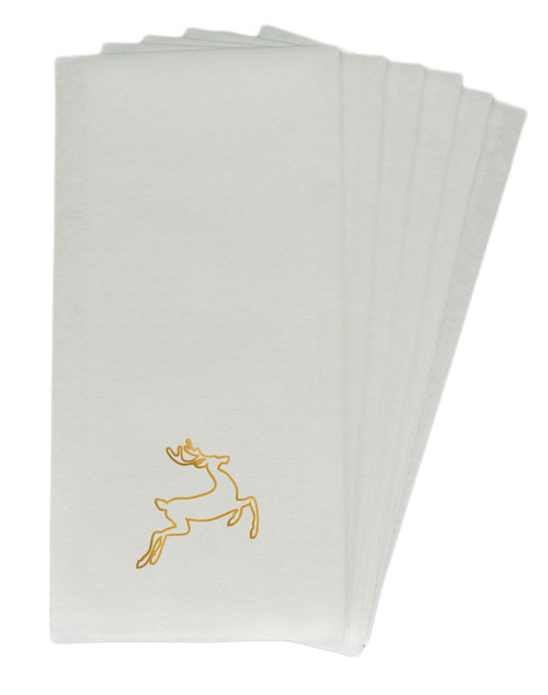 25 Linen-Like Disposable Guest Towels - Gold Deer