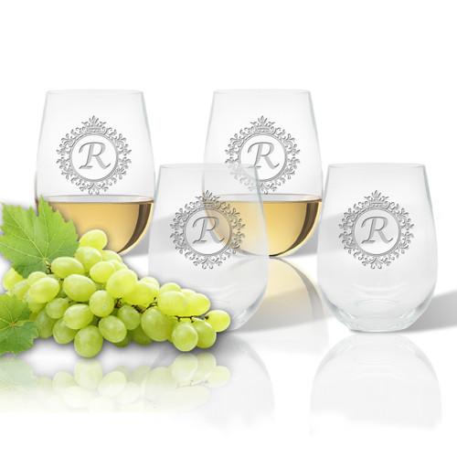 ICON PICKER Stemless Wine Tumbler (Set of 4)(Initial/Monogram Prime Design)