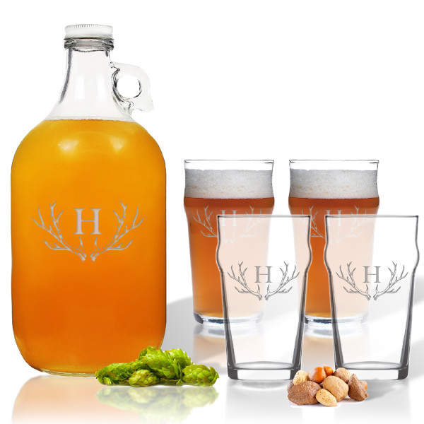 53b166cd071 5 Piece Set: Growler 64 oz. & Pub Glass 16 oz. (Set of 4 ...