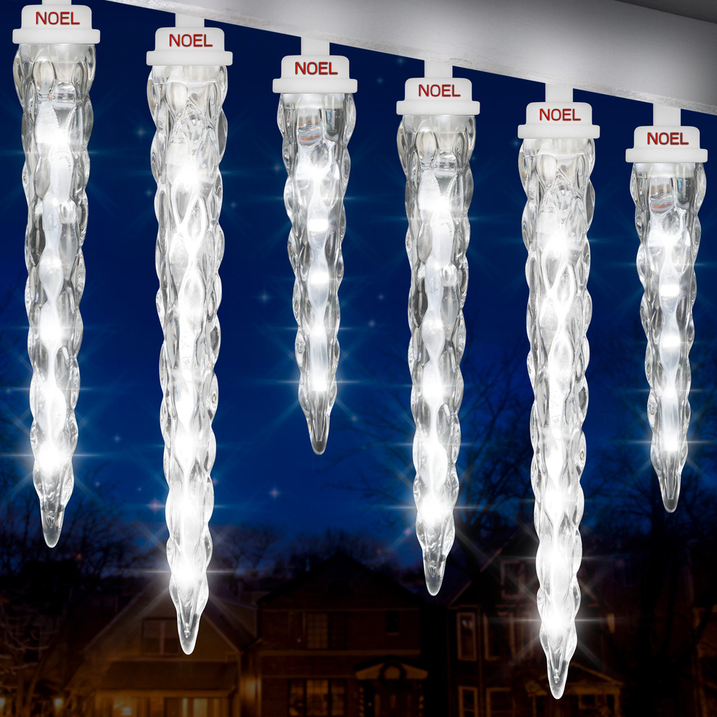 """Shooting Star® Icicle Light String 11""""7""""9"""" (White S/8)"""