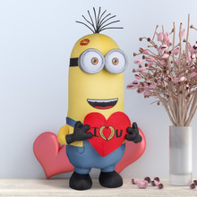 "Minion Kevin with ""I Love You"" Sign"