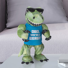 Animated Plush Pumped Up T-Rex on a Log is available at Walmart.