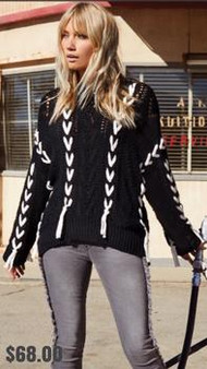 Women's Black With White Vertical Lace Sweater