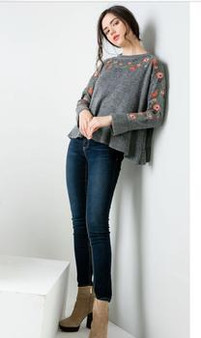 Women's Embroidered Ruffle Sweater