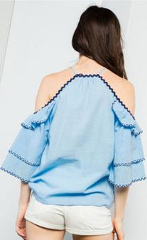 Women's Embroidered Ruffle Top