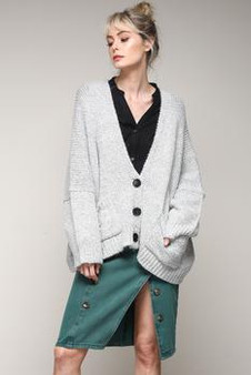 Women's Long Sleeve Chunky Knit Cardigan Sweaters Loose Outwear Coat With Front pockets