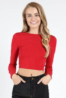 Women's Red Crochet Short Sleeve top With Back Cutout and Tie