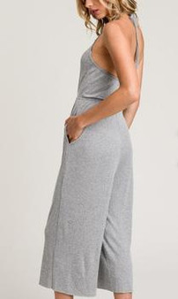 Women's Rib Knit Halter Culotte Jumpsuit With Pockets