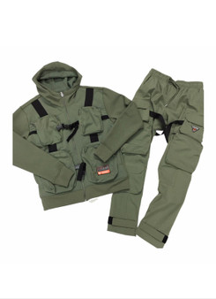 Green with Black Strap Jacket & Pants