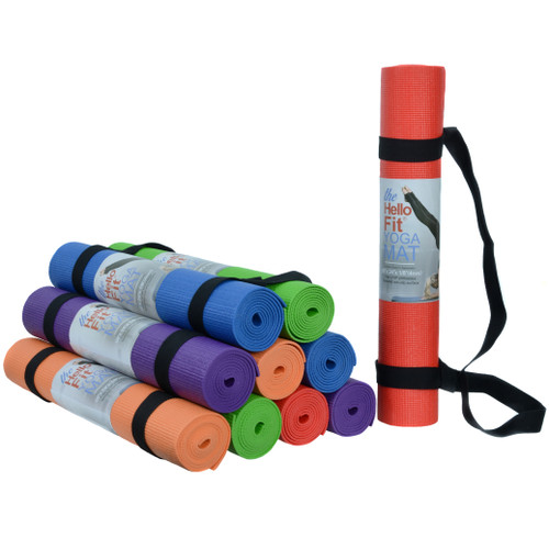 """Hello Fit Yoga Mat (68"""" x 24"""" x 4mm) with Carrying Harness - 10 Pack"""