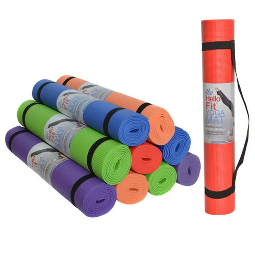 """Hello Fit Yoga Mat (68"""" x 24"""" x 4mm) with Carrying Straps - 10 Pack"""
