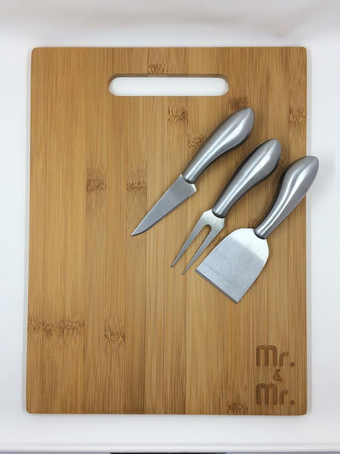 "Mr. & Mr."" Cutting Board and Knives Set"
