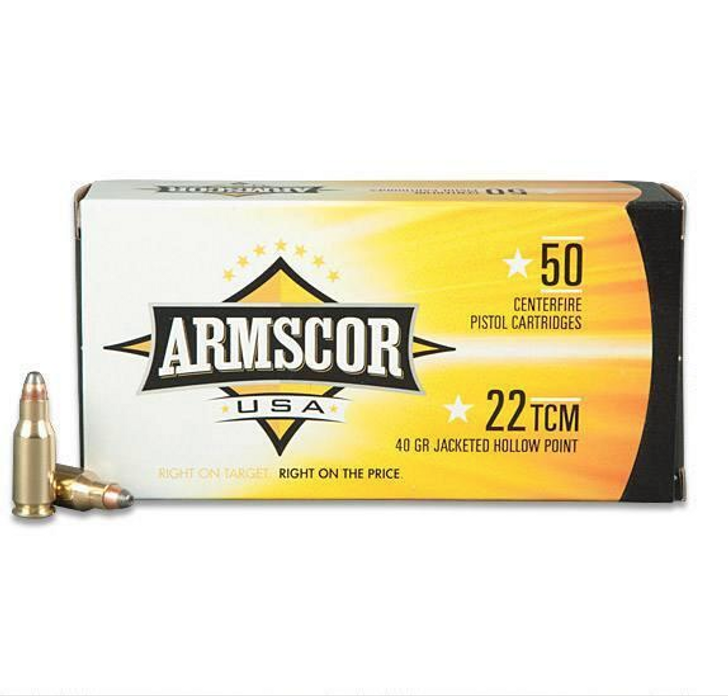 ARMSCOR 22 TCM 40GR JHP AMMUNITION - 50 ROUNDS