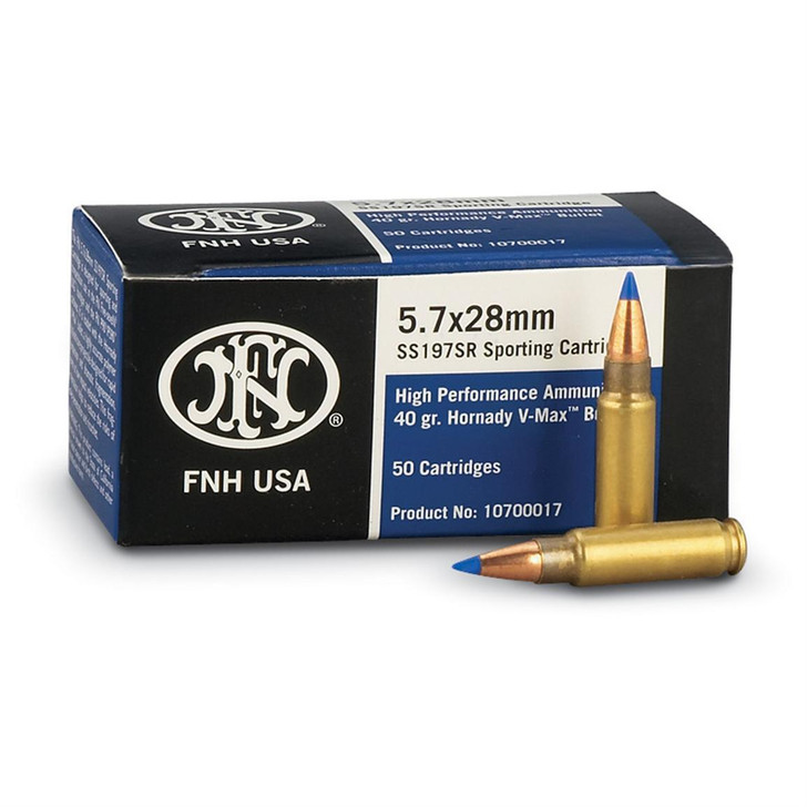 FNH HIGH PERFORMANCE 5.7X28MM 40 GRAIN HORNADY V-MAX BULLET - 50 ROUND BOX