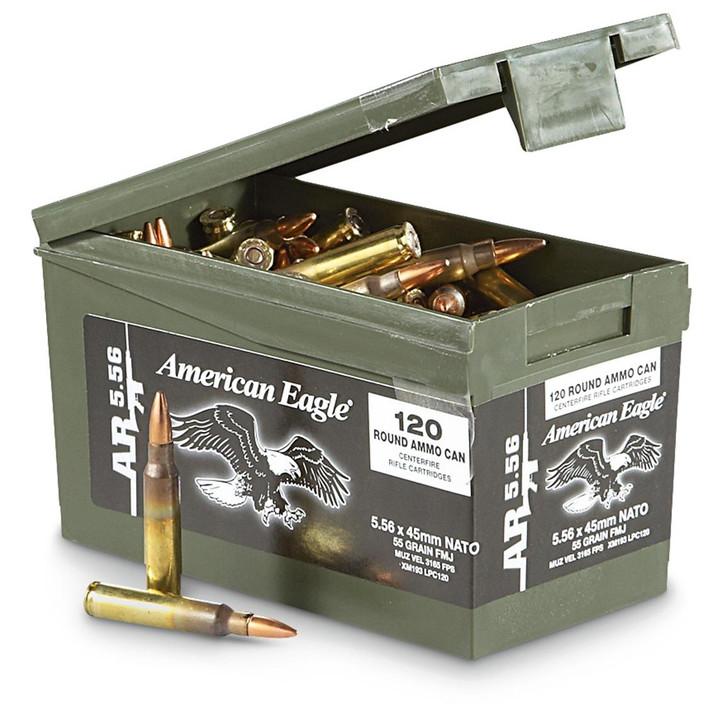 FEDERAL AMERICAN EAGLE 5.56 NATO AMMO 55 GRAIN FMJ 120 ROUNDS MINI AMMO CAN