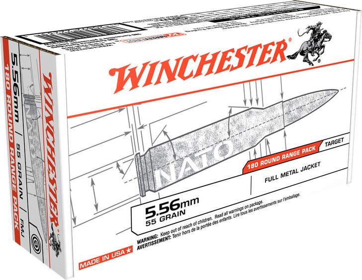 WINCHESTER 5.56 NATO 55 GRAIN FMJ AMMUNITION 180 ROUNDS