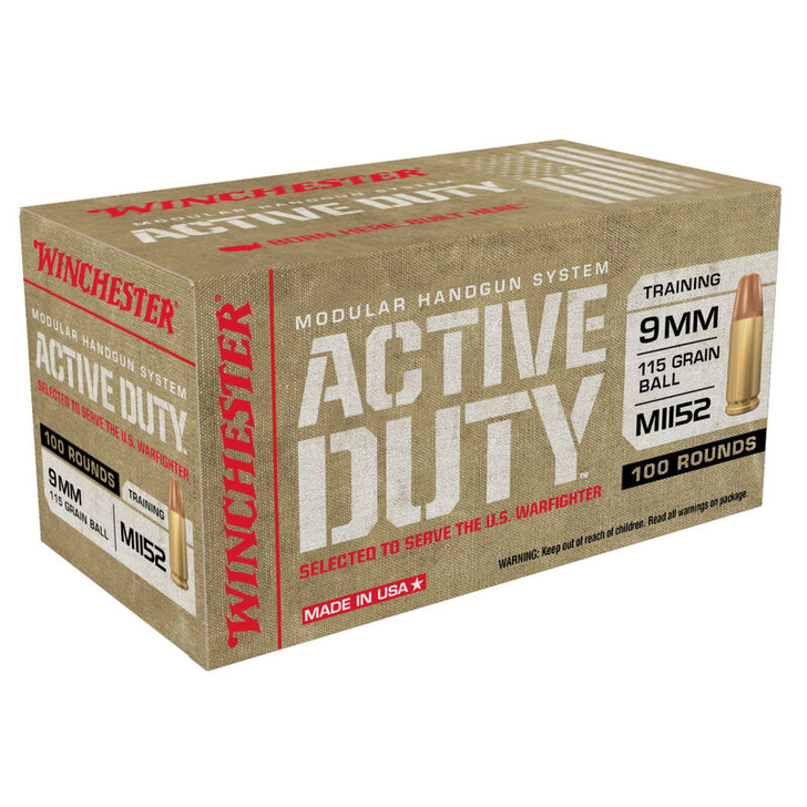 WINCHESTER ACTIVE DUTY 9MM 115 GRAIN BALL M1152 - 100 ROUND BOX