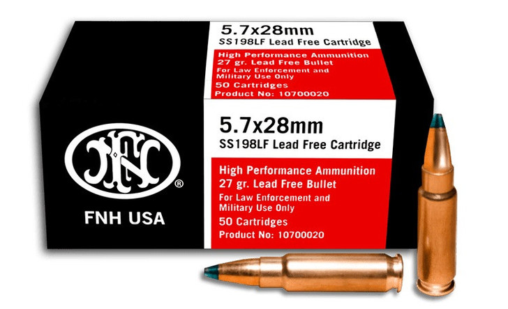 FNH USA 5.7X28MM 27 GRAIN HIGH PERFORMANCE SS198LF LEAD FREE AMMUNITION - 50 ROUND BOX