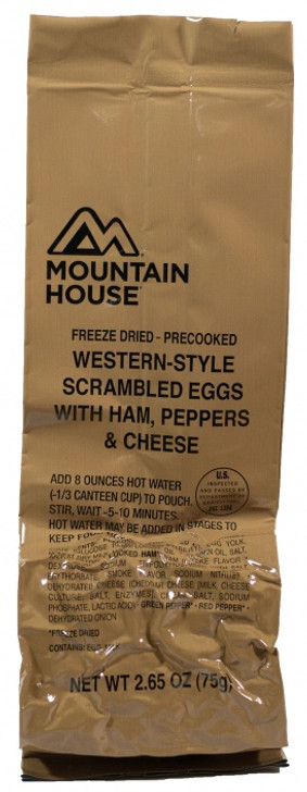 MOUNTAIN HOUSE WESTERN STYLE SCRAMBLED EGGS WITH HAM PEPPERS & CHEESE 2.26OZ