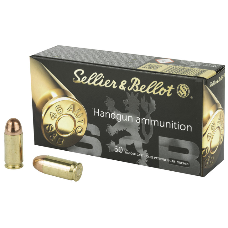 SELLIER & BELLOT 45 AUTO ACP 230 GRAINS FMJ AMMUNITION - 50 ROUND BOX