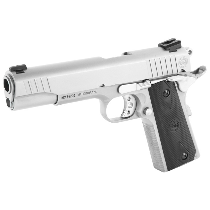 "TAURUS PT1911 FULL SIZE 45 ACPT 5"" BARREL STEEL FRAME HEINIE SIGHTS 8 ROUND 2 MAGS - STAINLESS WITH RUBBER GRIPS"