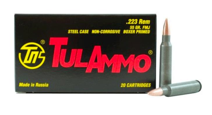 TULAMMO 223 REMINGTON STEEL CASE 55 GRAIN FMJ - 20 ROUND BOX