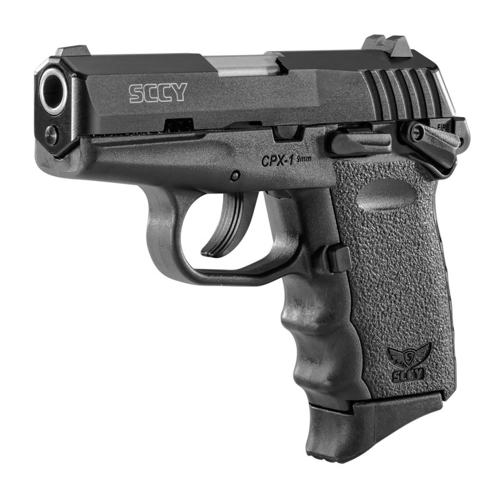 """SCCY INDUSTRIES CPX-1 DOUBLE ACTION ONLY COMPACT 9MM 3.1"""" BARREL 3 DOT SIGHTS 10 ROUND 2 MAGS - BLACK"""