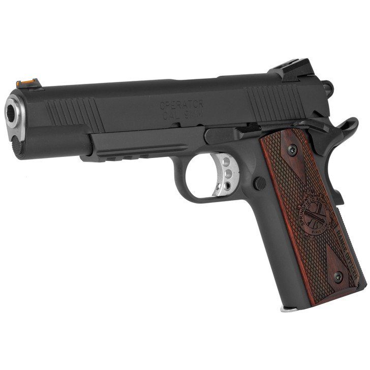 "SPRINGFIELD RANGE OFFICER OPERATOR 1911 PISTOL 9MM 5"" MATCH GRADE BARREL 9 ROUND - PARKERIZED FINISH STEEL FRAME COCOBOLO GRIPS"