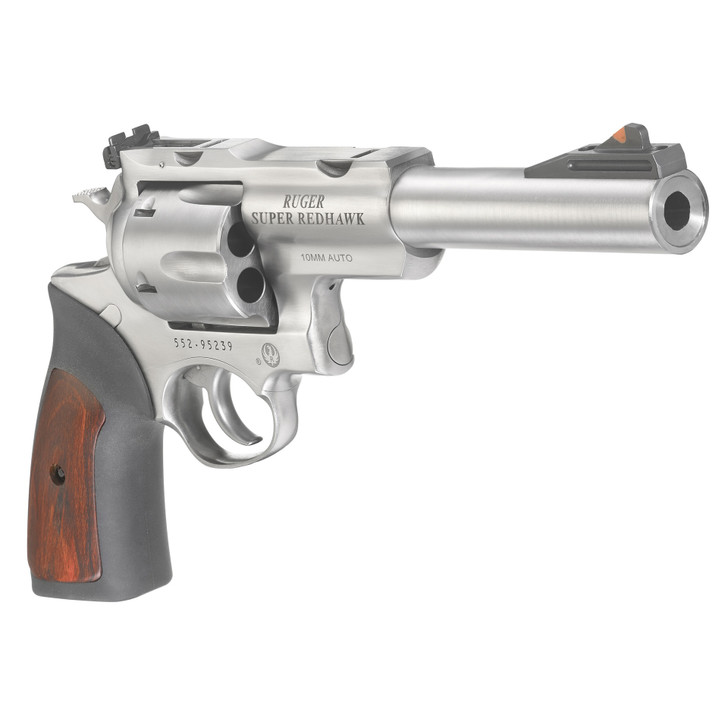 "RUGER SUPER REDHAWK REVOLVER DOUBLE ACTION 10MM 6.5"" BARREL 6 ROUND INCLUDES 3 FULL MOON CLIPS - STAINLESS/RUBBER/ HARDWOOD INSERT GRIPS"