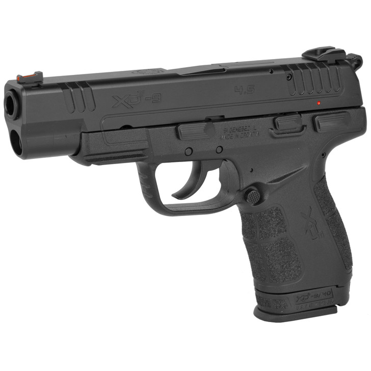 "SPRINGFIELD XDE SEMI AUTO COMPACT 9MM 4.5"" BARREL 9 ROUND AMBI SAFETY WITH INTEGRATED DECOCKER FIBER OPTIC FRONT SIGHT LOW PROFILE COMBAT REAR SIGHT - BLACK"