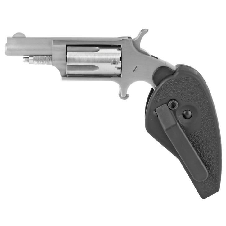 """NORTH AMERICAN ARMS MINI REVOLVER SINGLE ACTION 22LR/22WMR 1.625"""" BARREL 5 ROUND HOLSTER GRIP - STAINLESS"""