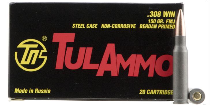 TULAMMO RIFLE 308 WIN 150 GR FULL METAL JACKET (FMJ) 20 ROUND BOX