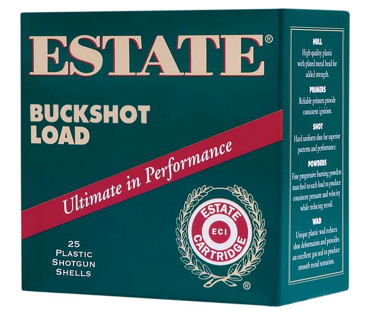"FEDERAL ESTATE 12 GAUGE 2.75"" 00 BUCK 9 PELLETS 25 ROUND BOX"