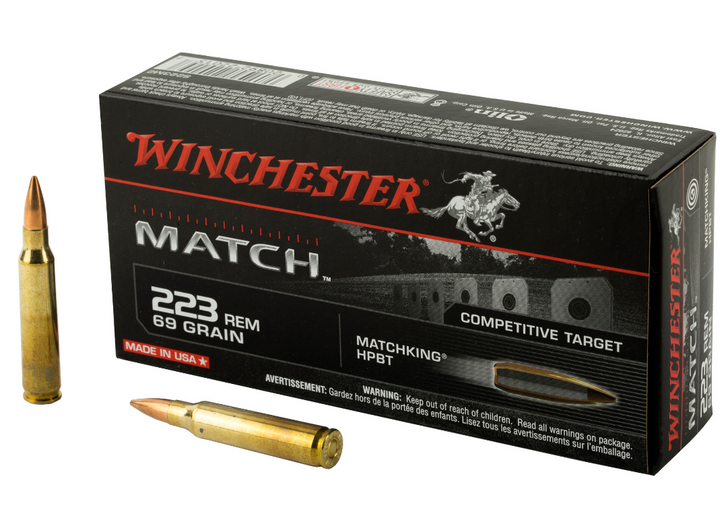 WINCHESTER AMMUNITION MATCH 223 REM 69 GRAIN BOAT TAIL HOLLOW POINT 20 ROUND BOX