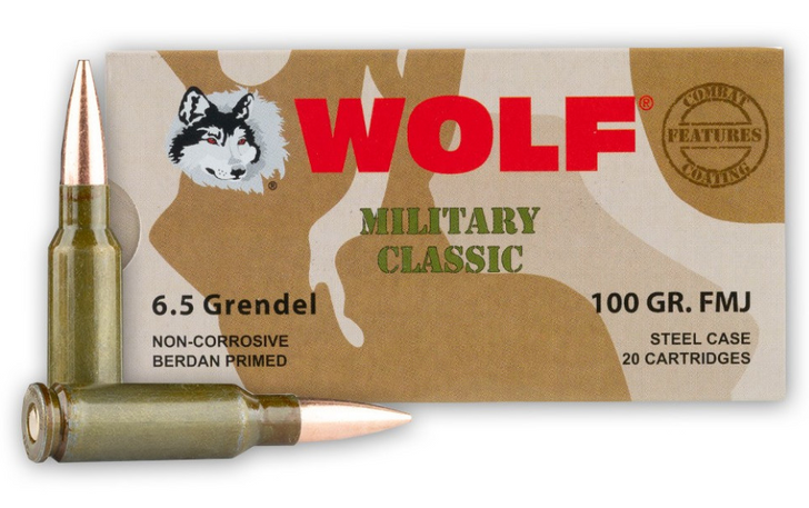 WOLF AMMO MC 6.5 GRENDEL 100GR FMJ BOX OF 20 ROUNDS
