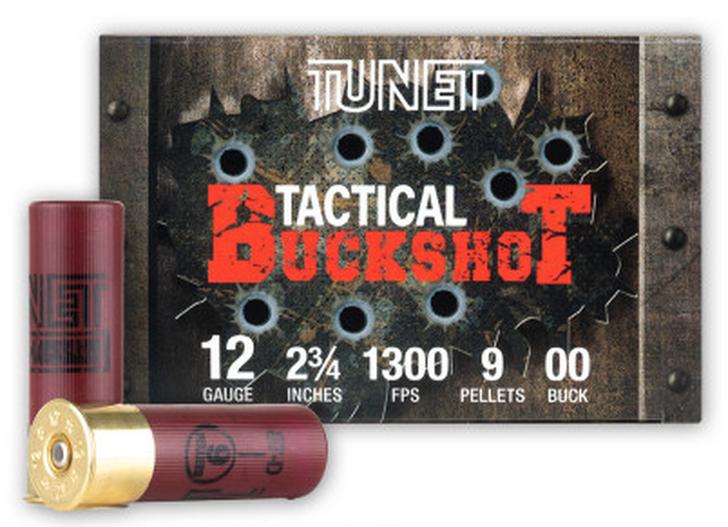 "TUNET TACTICAL 12 GAUGE - 2-3/4"" 9 PELLETS 00 BUCKSHOT - 250 ROUND CASE"