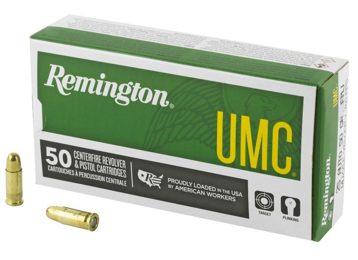 REMINGTON UMC 25 ACP 50 GRAIN FULL METAL JACKET 50 ROUND BOX
