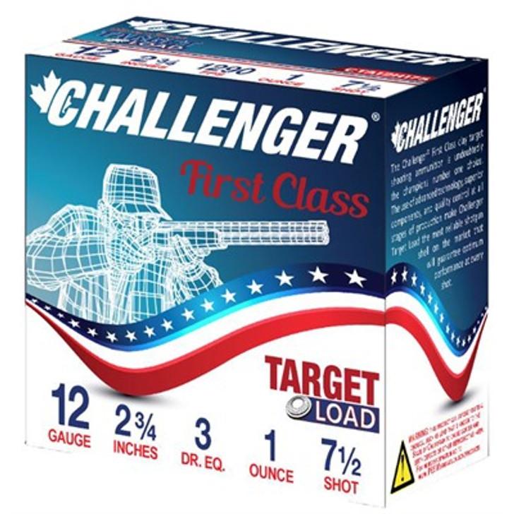 "CHALLENGER FIRST CLASS TARGET LOAD 12 GAUGE 2-3/4"" 1 OZ #7-1/2 SHOT- 25 ROUND BOX"