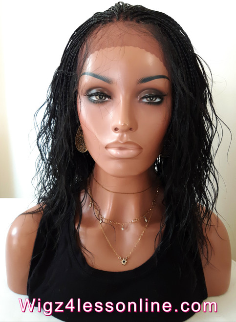"16"" Braided Body Wave Human Hair Blend Whole Lace  Wig-"