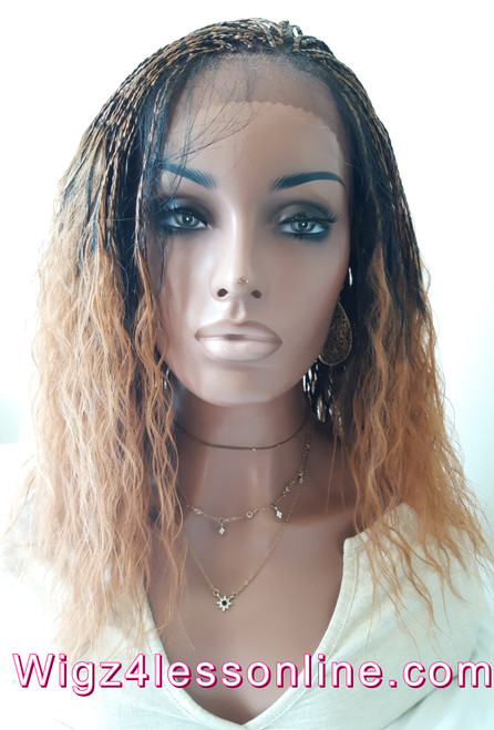 "15"" Braided Wet and Wavy Human Hair Blend Whole Lace Wig"