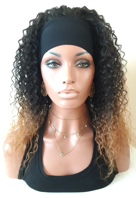 """16"""" Ombre Kinky Curly Jerry Curl Human Hair Blend Headband Wig-SAME DAY SHIPPING!"""