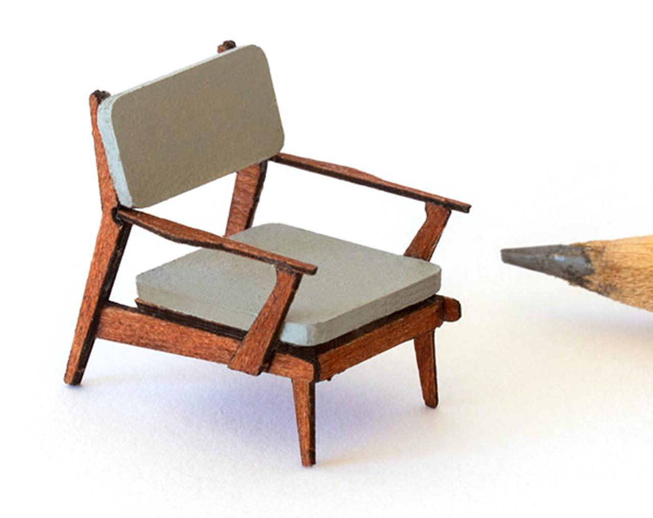 1:48 Dollhouse Miniature Sleigh Chair Kit //Quarter Inch Scale Furniture KBM Q361