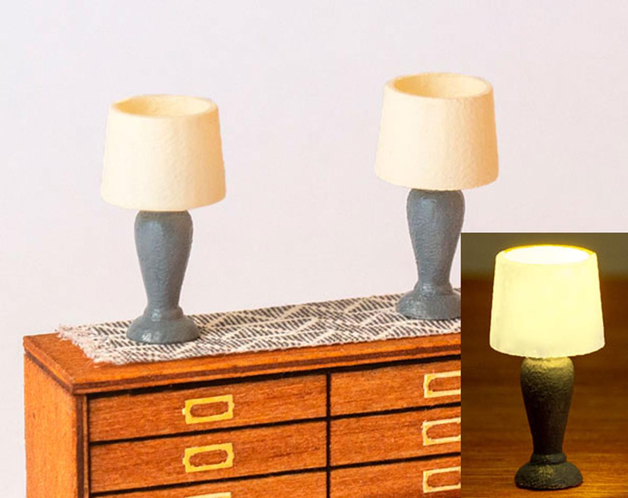 1:24 Dollhouse Miniature Blue Lamp Nightstand Dresser Light Half Inch Scale 1//24